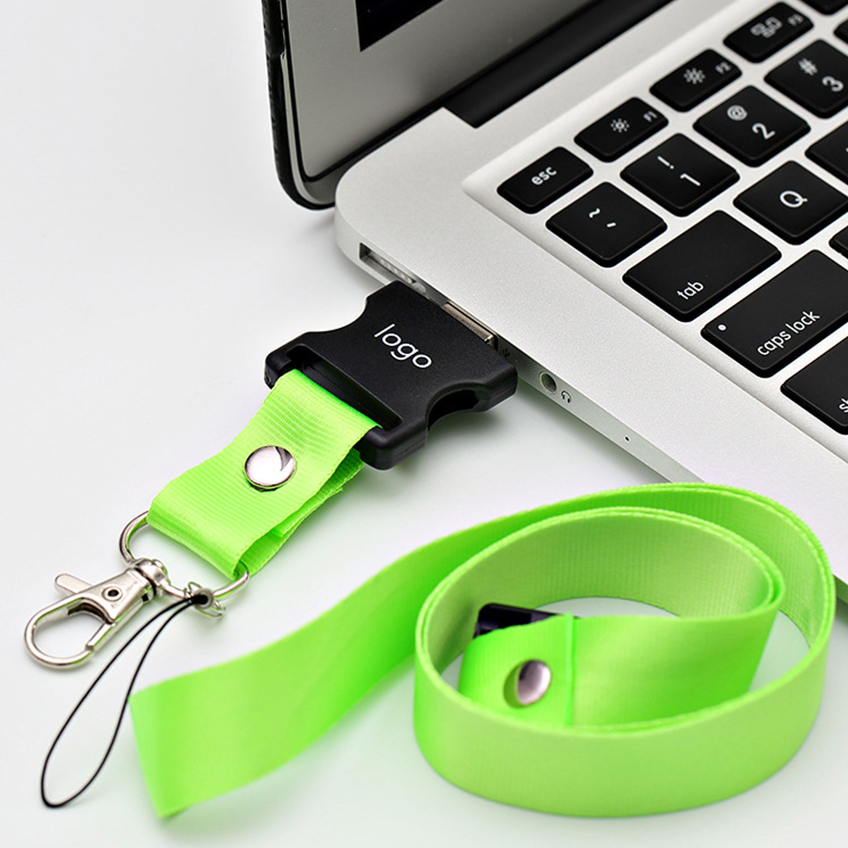 Green Lanyard Plastic USB flash drive